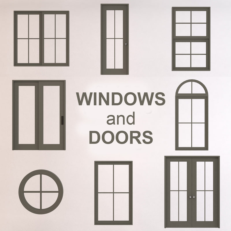 3d glass windows doors model for Glass windows and doors
