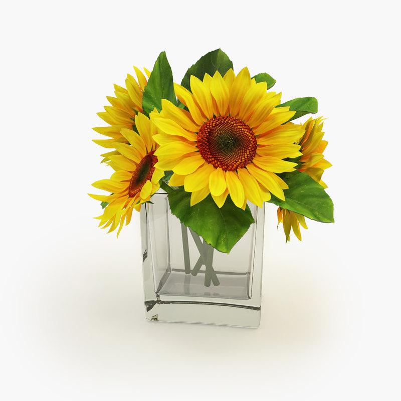 3d model sunflower vase flower