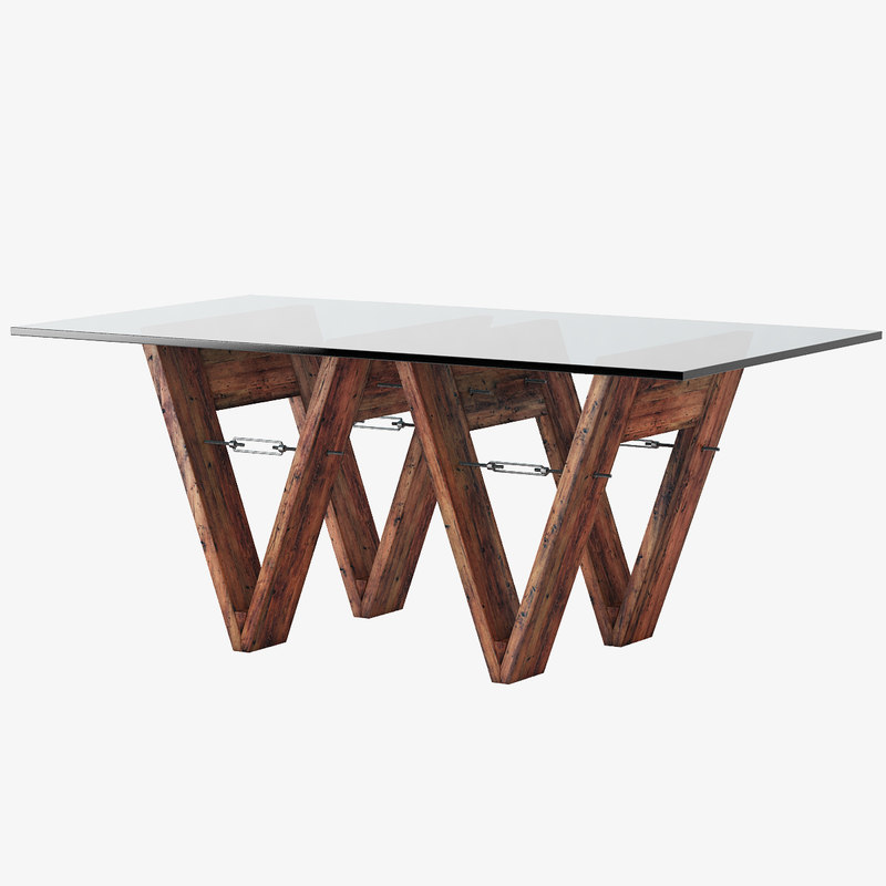 3d model reclaimed wood glass v form for New model wooden dining table