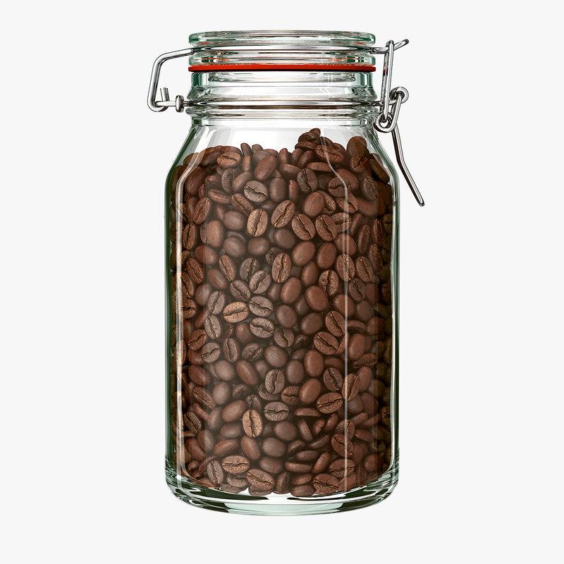 Jar Coffee Beans 3d Model