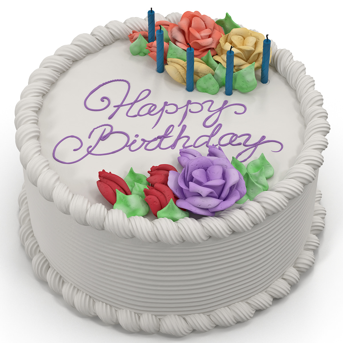 Birthday Pastry Cake Images Download : 3d model of birthday cake 4