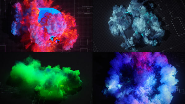 FumeFX colored explosions 3D Models