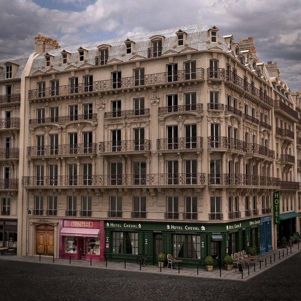 Paris Corner Tenement Hotel 01 3D Models