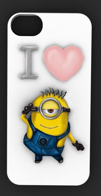 white cover on the phone   a cheerful minion