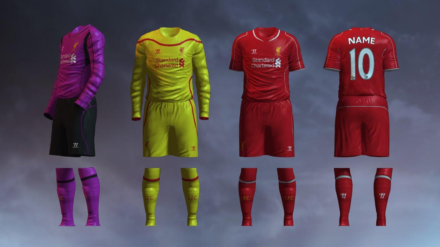 soccer jersey liverpool fc 3d model