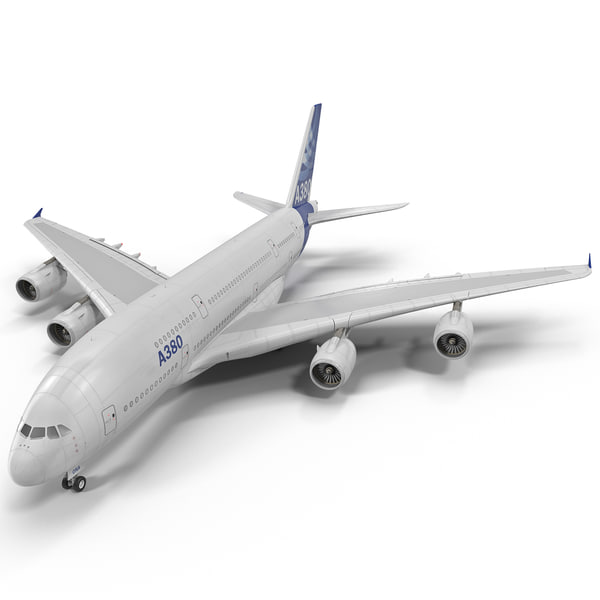 Jet Airliner Airbus A380 Rigged 3D Models