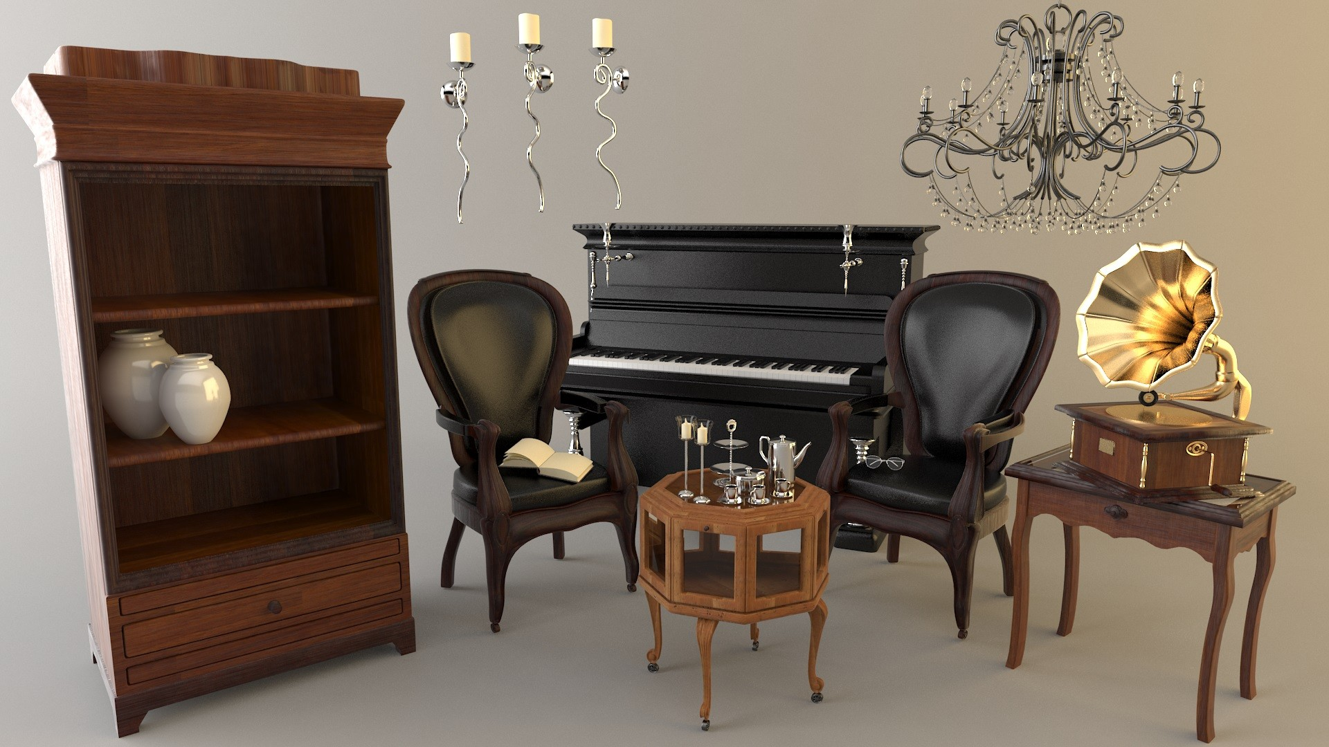 Old fashioned furniture set 3d model for Old fashioned couch