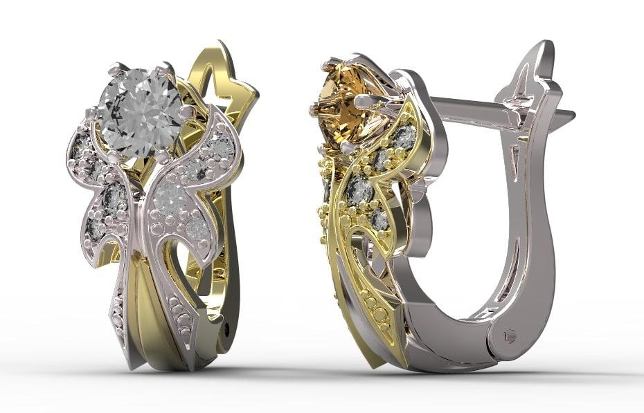 Gold earrings with diamonds   36.jpg
