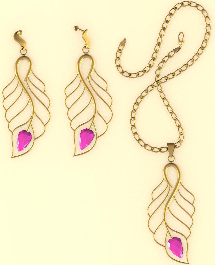 Set of Necklace Earrings 4