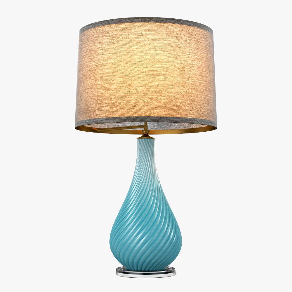 Vintage Robins Egg Blue Murano Lamps by Seguso