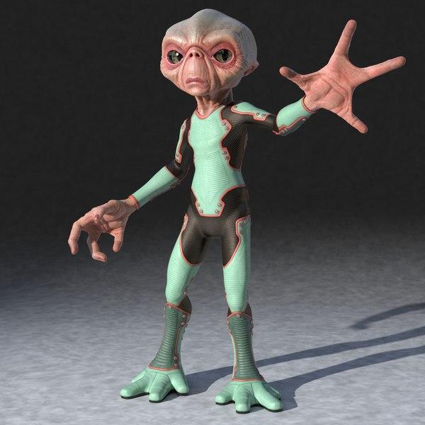 Alien In Suit Rigged 3D Models