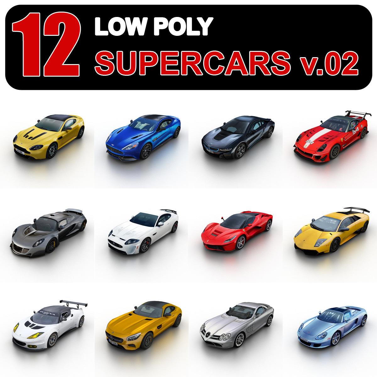 Low Poly Supercars v.02