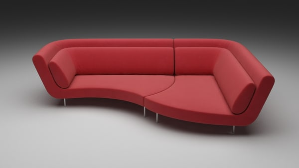 Red-Living Sofa 3D Models