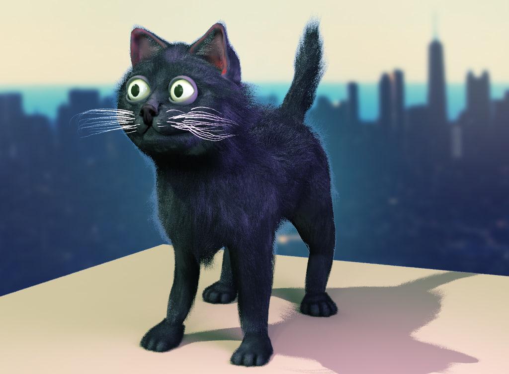 Cartoon Street Black Cat