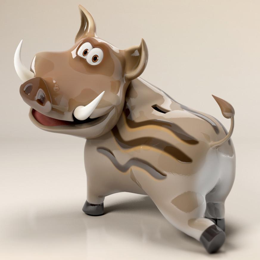 Maya Boar 3D cartoon caracter