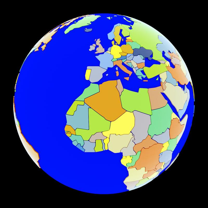 3ds Max Globe Political Maps Earth