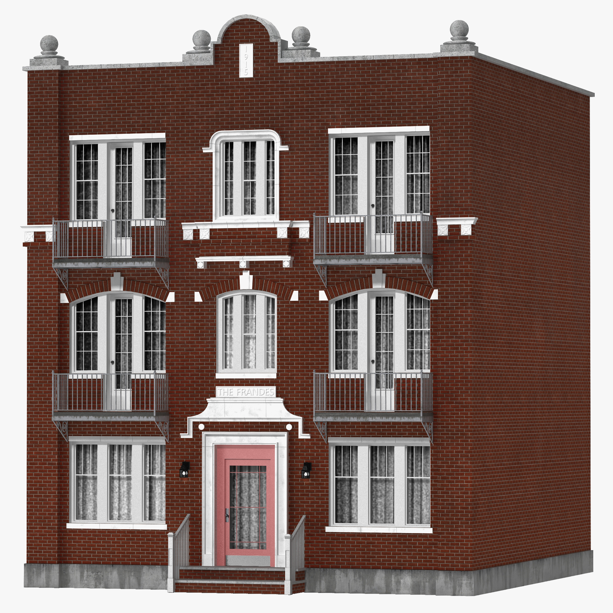 Brick apartment building 3d model for Apartment model house