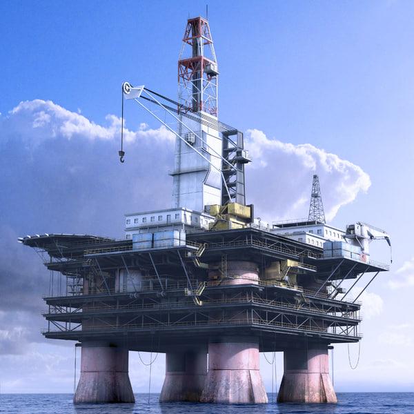 Oil Rig Station 3D Models