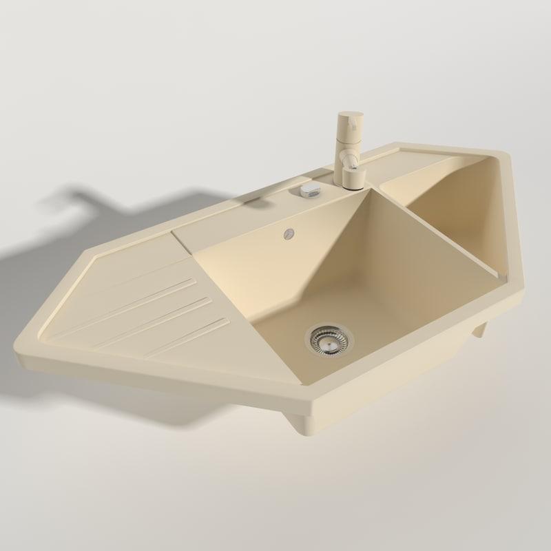 Kitchen Sink Model: 3d Model Kitchen Sink Blanco
