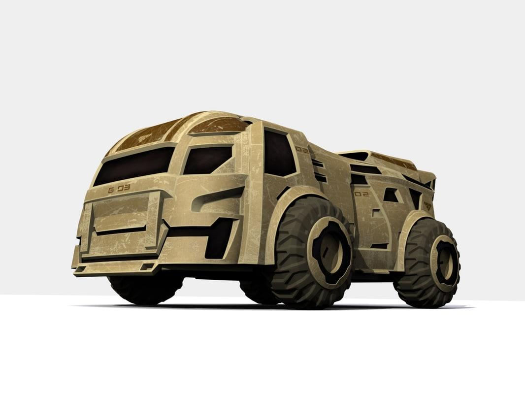 3d transport sci fi model