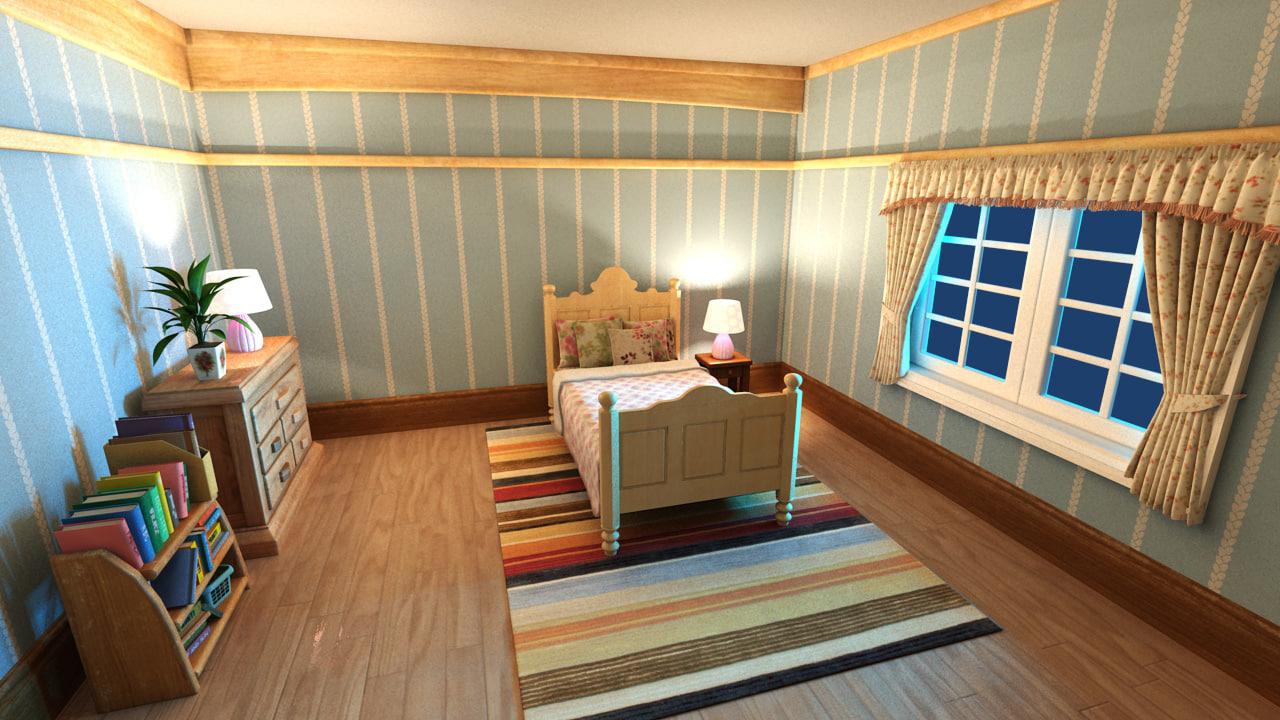 Cartoon Bedroom Scene Obj