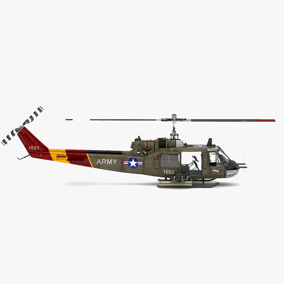 3d model of bell uh 1b iroquois military helicopter