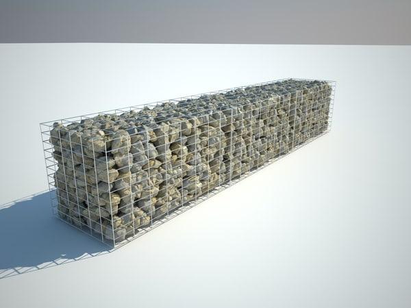 Gabion stone wall 3D Models