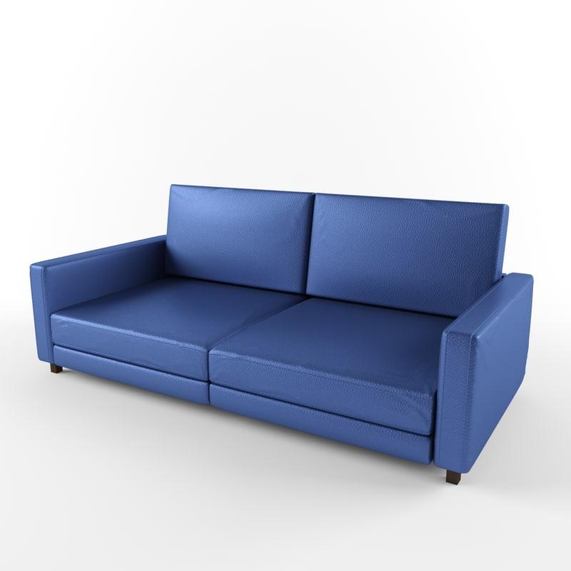 3d blue leather sofa