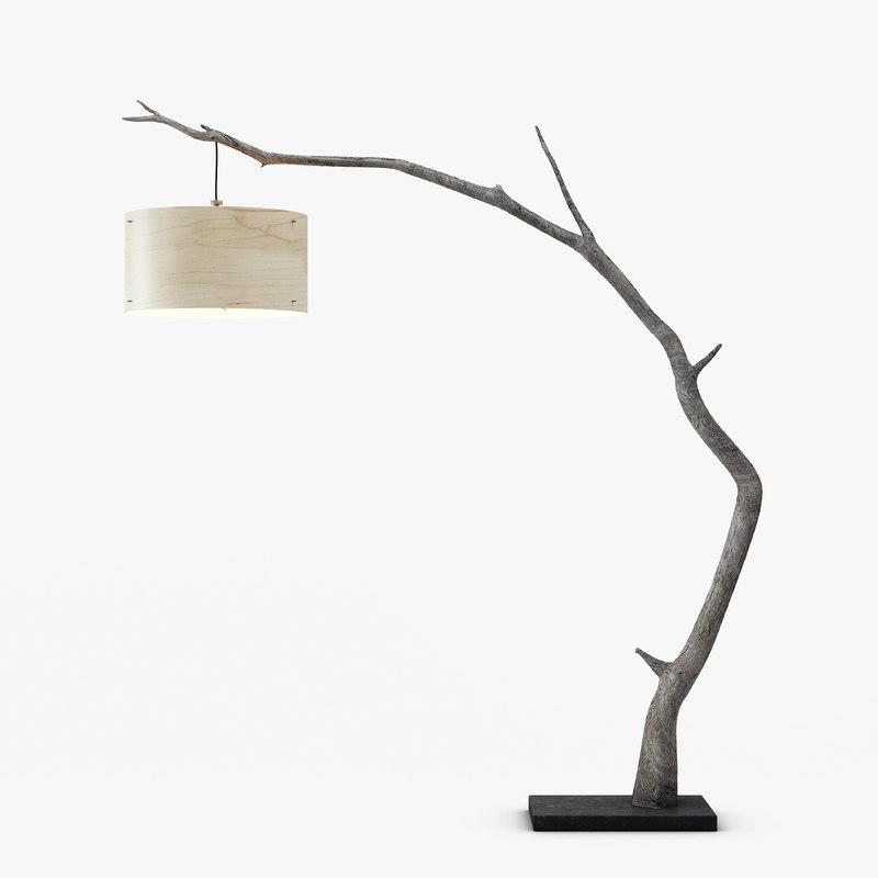 3d Model Wooden Arc Floor Lamp