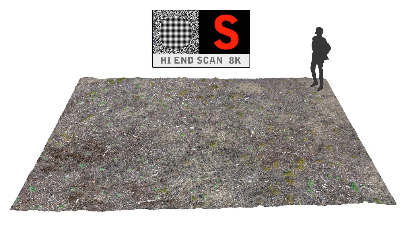3d obj coniferous forest soil 8k for Soil 3d model