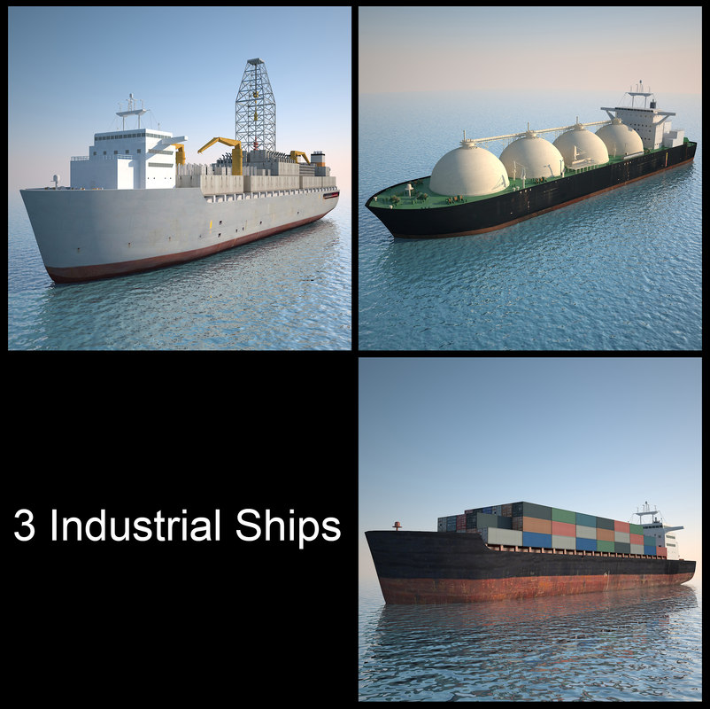 3 Industrial Ships (3ds Max 2013)
