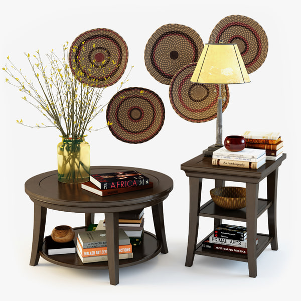 Pottery Barn Decor Tables Set 3D Models
