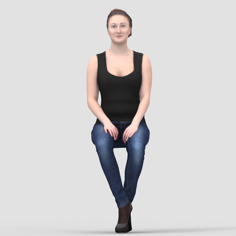 Maria Casual Sitting 1 - 3D Human Model