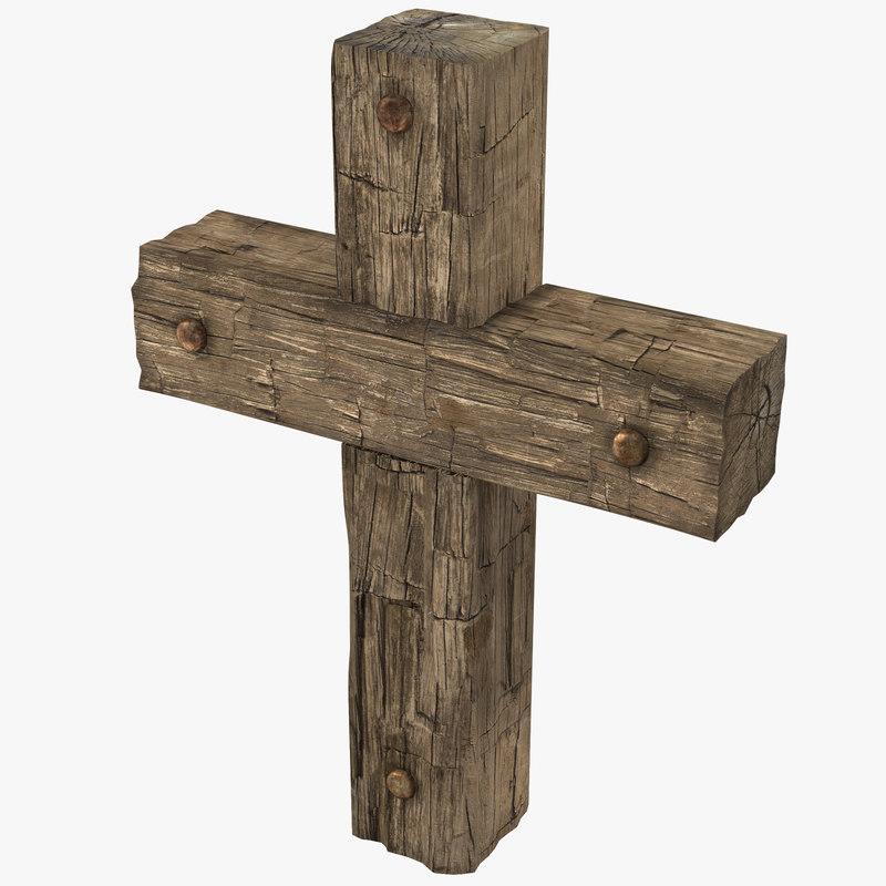 Wooden Cross Weathered 3d model 00.jpg