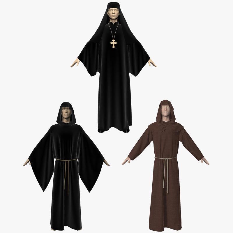 3d model robes modeled hoodie