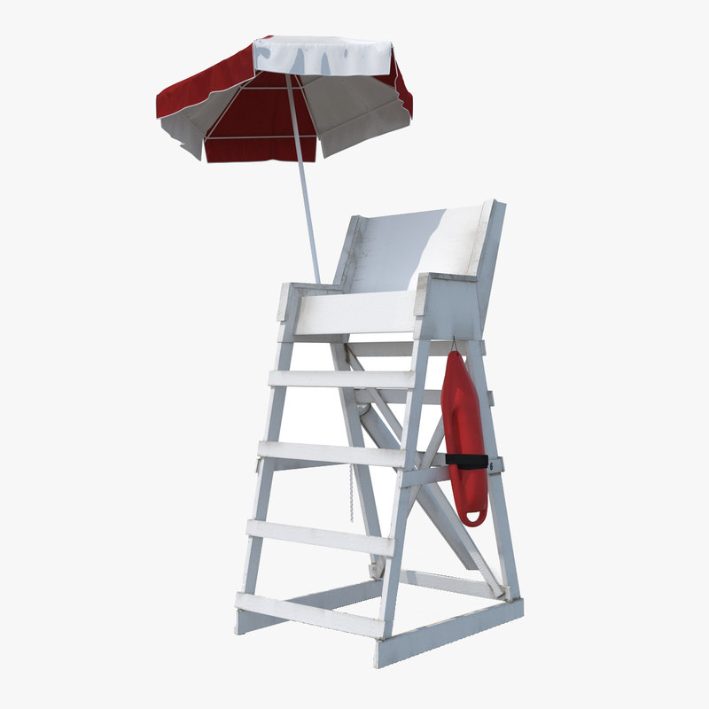 3d model of lifeguard chair with umbrella by 3d_molier