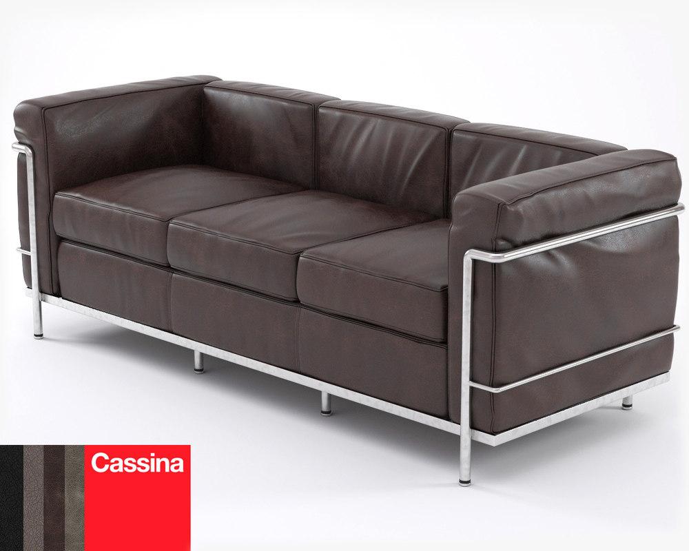 3d le corbusier sofa lc2. Black Bedroom Furniture Sets. Home Design Ideas