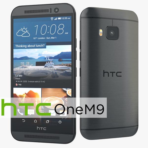 HTC One M9 Flagship Smartphone Gunmetal Gray 3D Models
