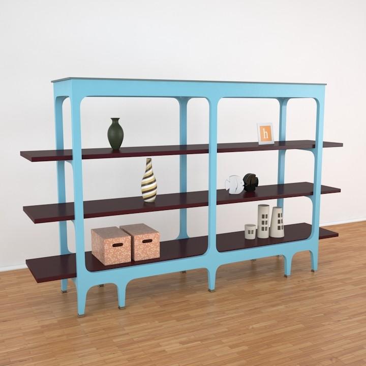 bibliotheque basse bruno caumont 3d model. Black Bedroom Furniture Sets. Home Design Ideas