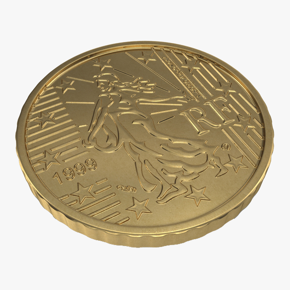 French Euro Coin 50 Cent 3d model 00.jpg