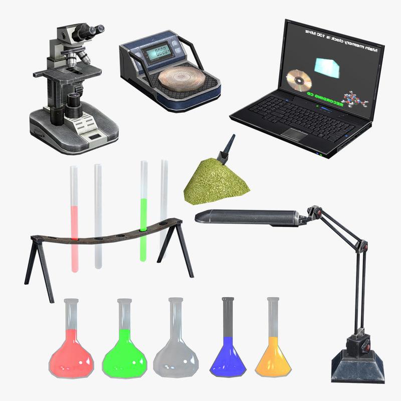 set laboratory equipment 3d model