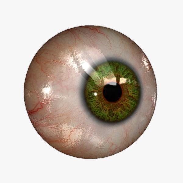 Eyeball (20 colors) Rendering & Real-time KA-Set 01 green 3D Models