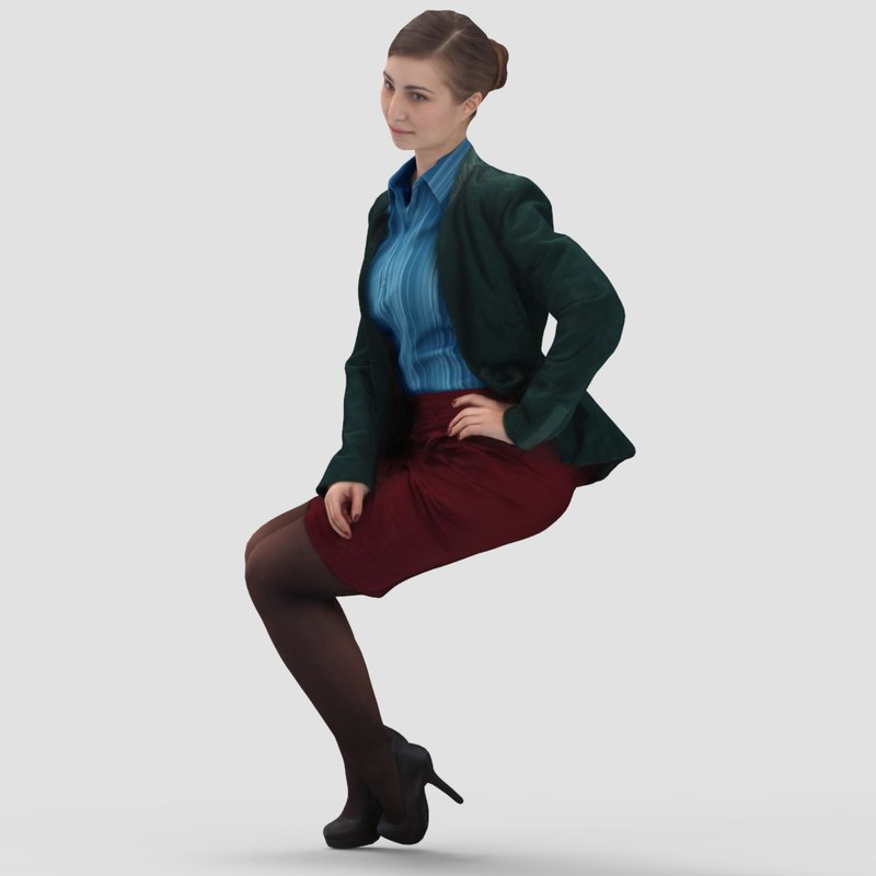 Jennifer Business Sitting 2 - 3D Human Model