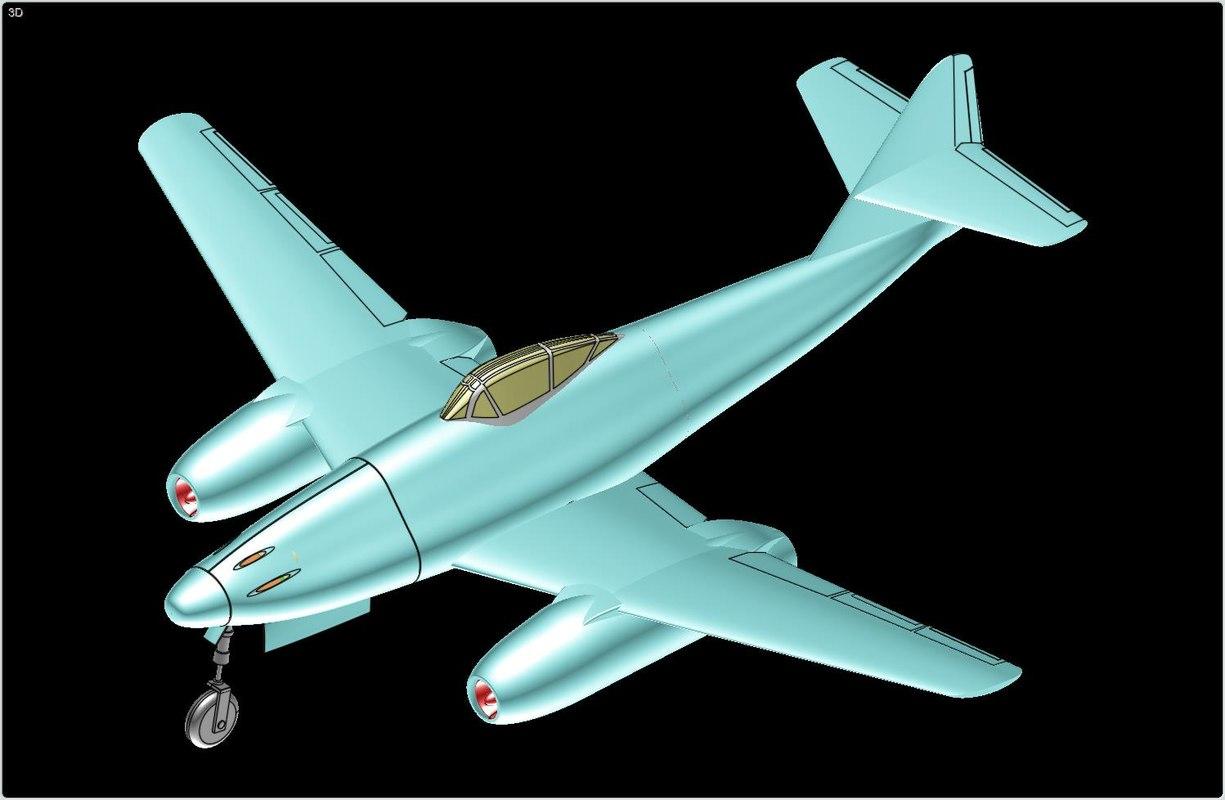 messerschmitt me 262 fighter aircraft 3d model