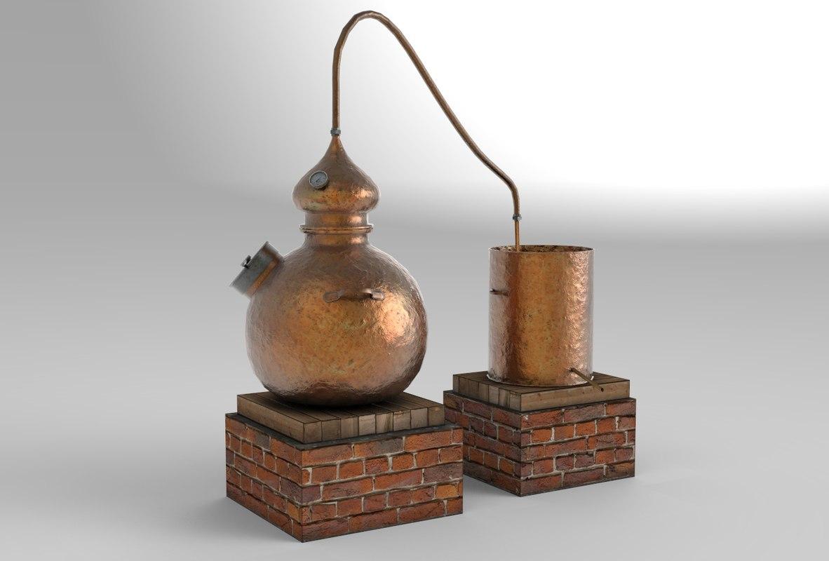 antique brewing 3d obj