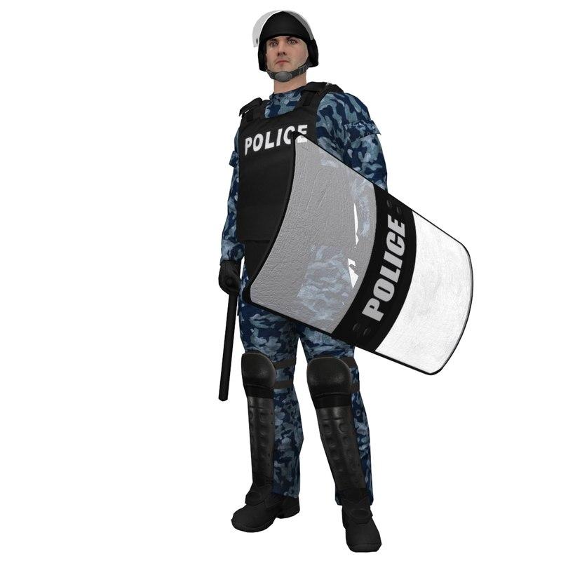 3d rigged riot police officer model