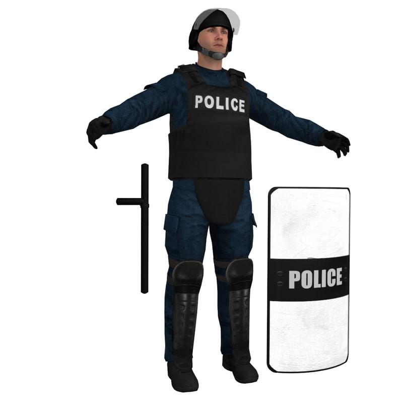 3d obj riot police officer