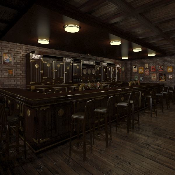 HD Pub Interior 3D Models