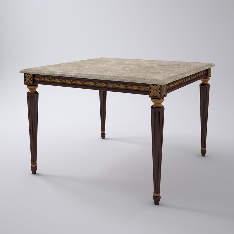 French Louis XVI Dining Table Square