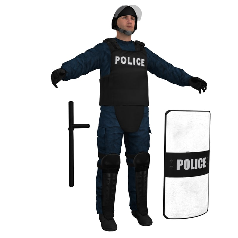 3ds max riot police officer